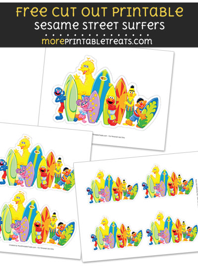 Free Sesame Street Surfers Cut Out Printable with Dashed Lines