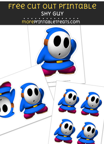 Free Shy Guy Cut Out Printable with Dashed Lines - Mario