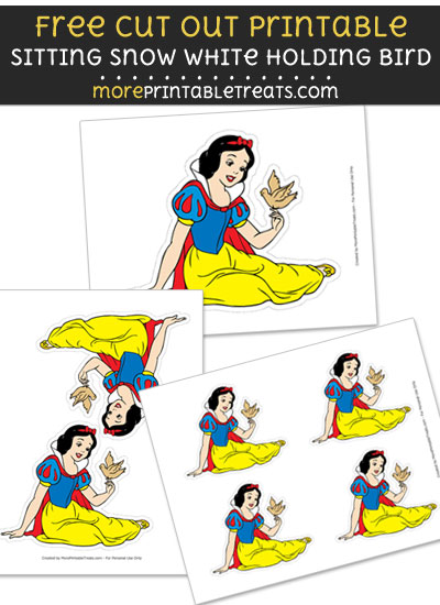 Free Seated Snow White Holding Bird Cut Out Printable with Dashed Lines