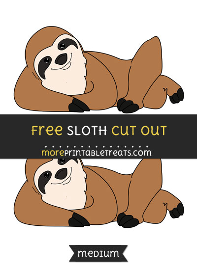 Free Sloth Cut Out - Medium Size Printable