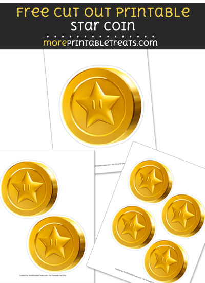 Free Star Coin Cut Out Printable with Dashed Lines - Mario