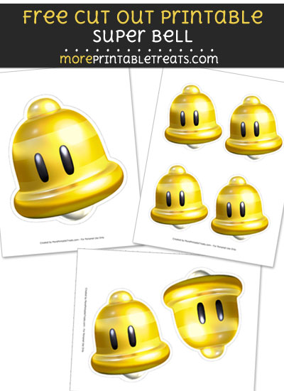 Free Super Bell Cut Out Printable with Dashed Lines - Mario