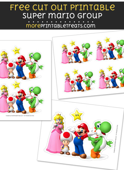 Free Super Mario Group Cut Out Printable with Dashed Lines - Mario