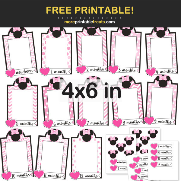 Free Printable 4x6 Minnie Mouse Baby Photo Banner Frames for Birthday Party and Scrapbook