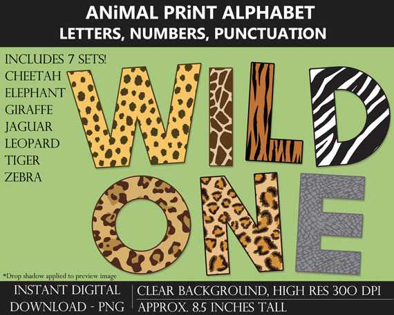 Printable Animal Print Alphabet Letters, Numbers, Punctuation - DIY Jungle Safari Party Banner