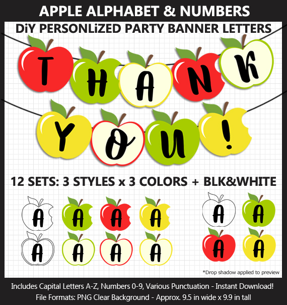 Printable Apple Alphabet Banner Letters - DIY Teacher Appreciation Day Banner