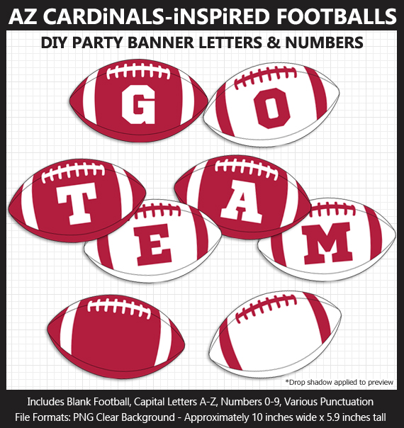 Printable Arizona Cardinals-Inspired Football Party Banner Letters - DIY Cardinals Party Banner