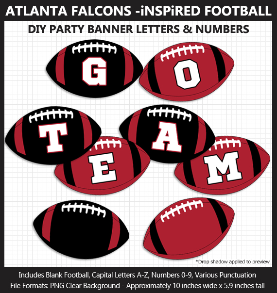 Printable Atlanta Falcons-Inspired Football Party Banner Letters - DIY Falcons Party Banner