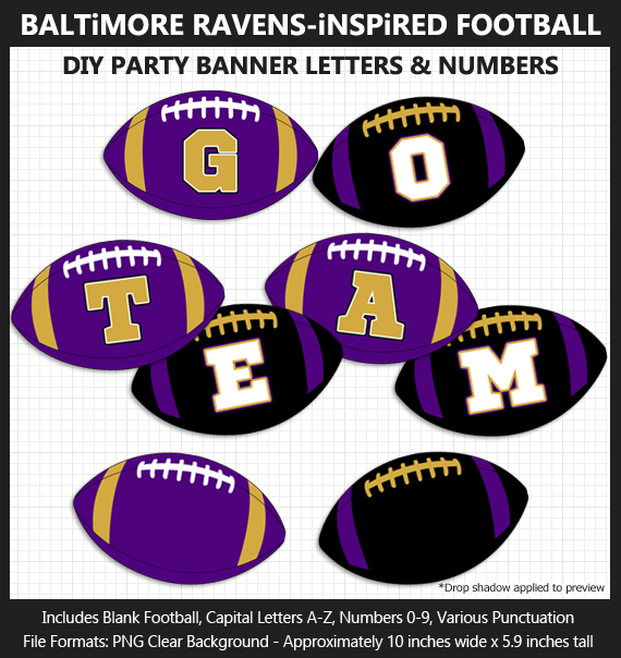 Printable Baltimore Ravens-Inspired Football Party Banner Letters - DIY Ravens Party Banner