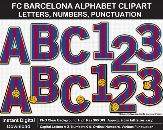 Printable Barcelona FC Letters - DIY Barcelona Soccer Party Banner
