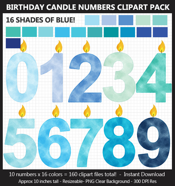 Blue Watercolor Birthday Candle Numbers Clipart Pack
