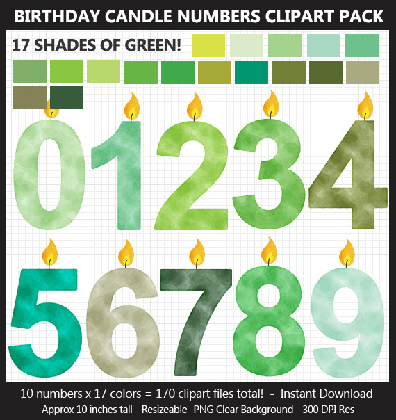 Green Watercolor Birthday Candle Numbers Clipart Pack