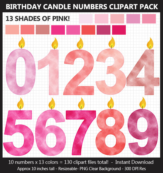 Pink Watercolor Birthday Candle Numbers Clipart Pack