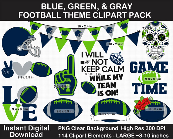 Blue, Green, and Gray Football Theme Clip Art Pack