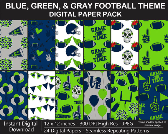 Blue, Green, and Gray Football Theme Digital Paper Pack
