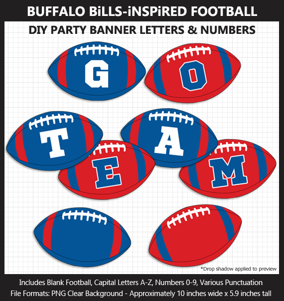 Printable Buffalo Bills-Inspired Football Party Banner Letters - DIY Bills Party Banner