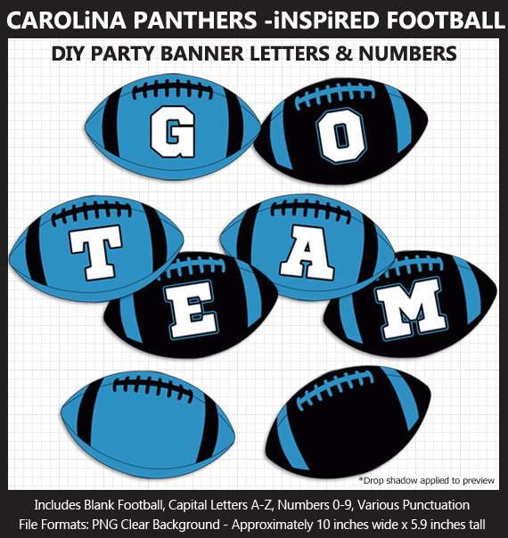 Printable Carolina Panthers-Inspired Football Party Banner Letters - DIY Panthers Party Banner