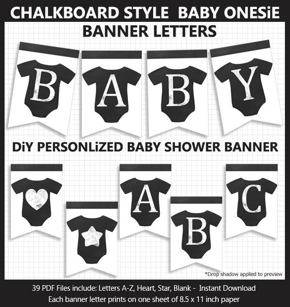 DIY Printable Chalkboard Style Baby Onesie Baby Shower Bunting Banner