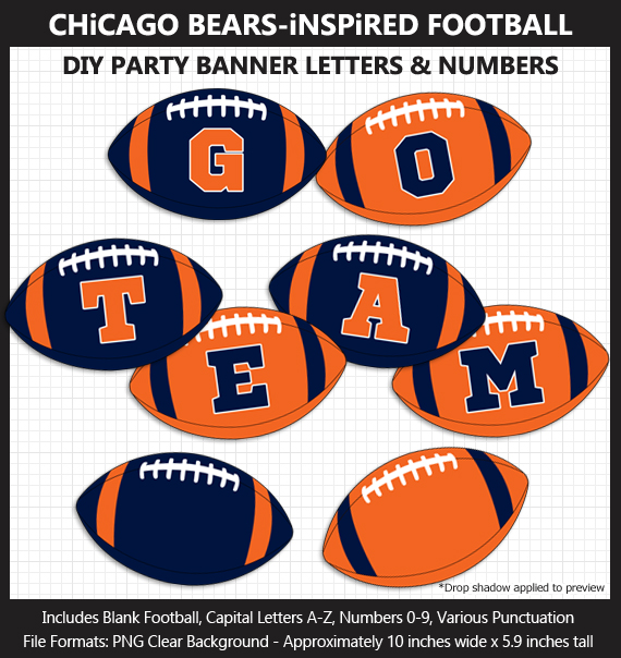 Printable Chicago Bears-Inspired Football Party Banner Letters - DIY Bears Party Banner