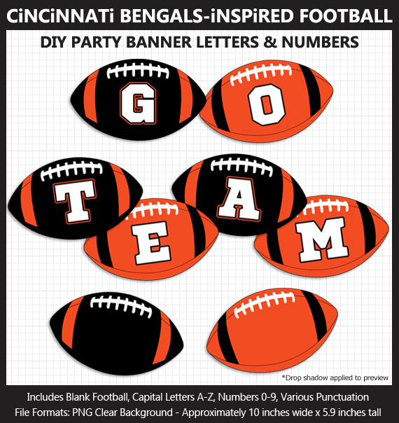 Printable Cincinnati Bengals-Inspired Football Party Banner Letters - DIY Bengals Party Banner