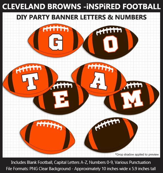 Printable Cleveland Browns-Inspired Football Party Banner Letters - DIY Browns Party Banner