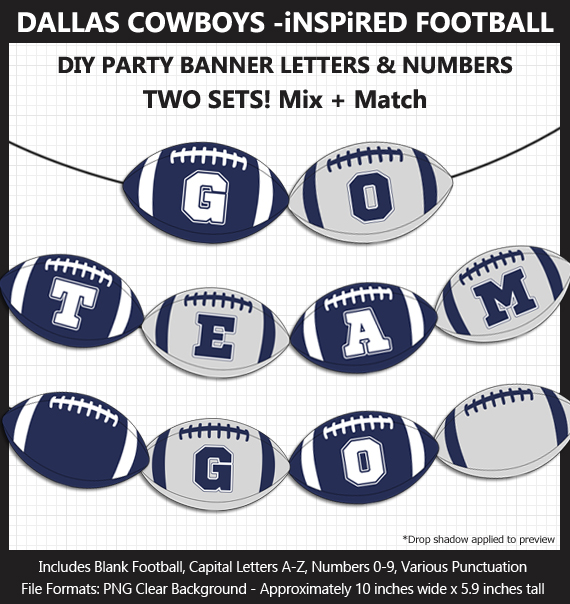 Printable Dallas Cowboys-Inspired Football Party Banner Letters - DIY Cowboys Party Banner