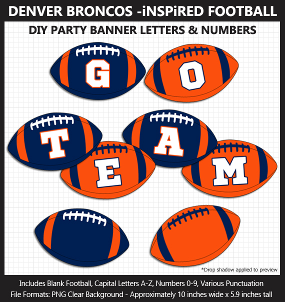 Printable Denver Broncos-Inspired Football Party Banner Letters - DIY Broncos Party Banner