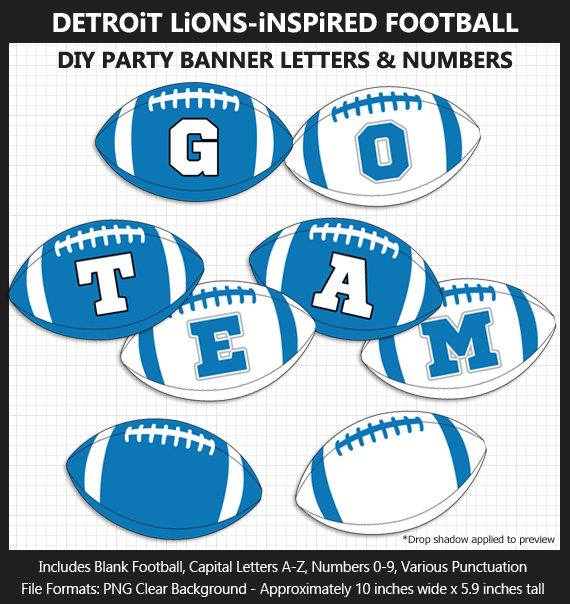 Printable Detroit Lions-Inspired Football Party Banner Letters - DIY Lions Party Banner