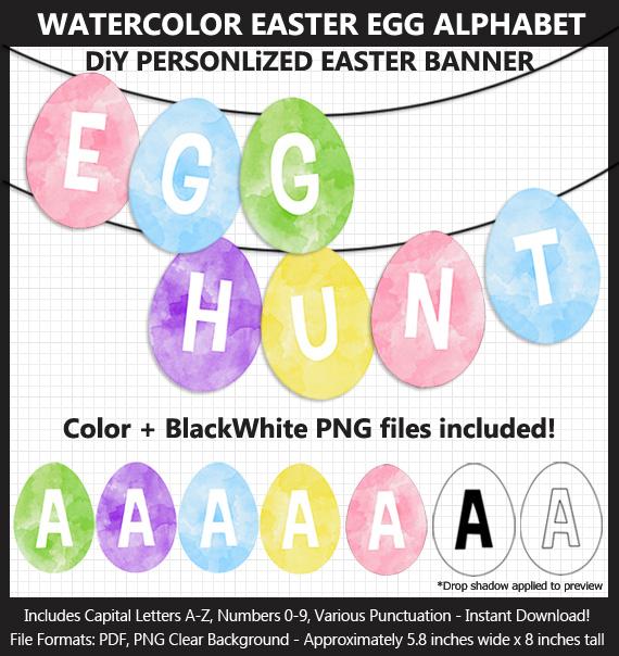 Printable Easter Egg Alphabet Banner Letters - DIY Easter Decorative Banner