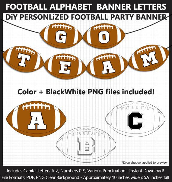 Printable Football Alphabet Banner Letters - DIY Football Party Banner