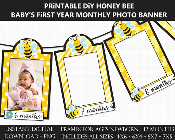 Printable Honey Bee Baby's First Year Monthly Photo Banner Frames - DIY Fun to Bee One 1st Birthday Banner