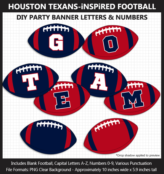 Printable Houston Texans-Inspired Football Party Banner Letters - DIY Texans Party Banner