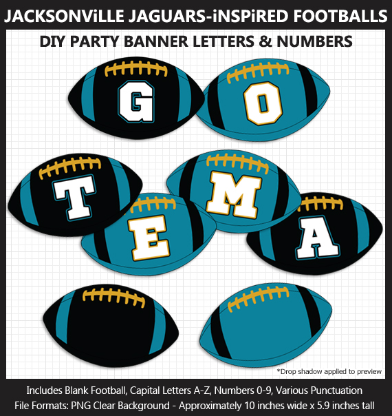Printable Jacksonville Jaguars-Inspired Football Party Banner Letters - DIY Jaguars Party Banner