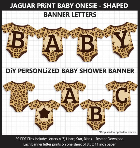 DIY Printable Jaguar Print Baby Onesie Shaped Baby Shower Bunting Banner
