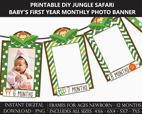 Printable Jungle Safari Baby's First Year Monthly Photo Banner Frames - DIY Wild One 1st Birthday Banner
