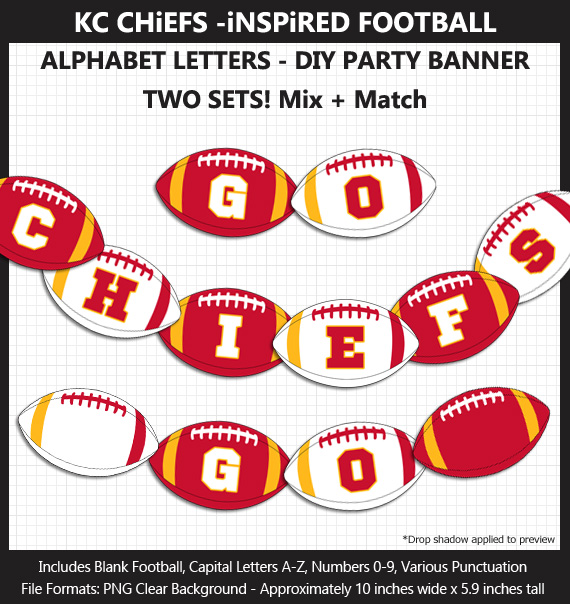 Printable Kansas City Chiefs-Inspired Football Party Banner Letters - DIY Chiefs Party Banner