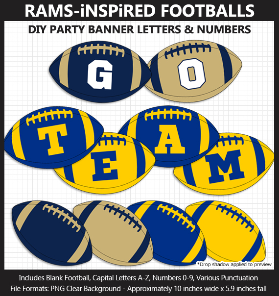 Printable Rams NFL Team-Inspired Football Party Banner Letters - DIY Rams Party Banner