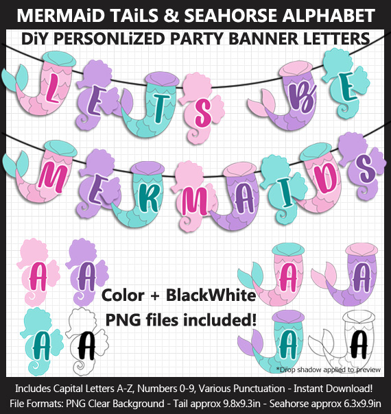 Printable Mermaid Tail and Seahorse Banner Letters - DIY Mermaid Party Banner