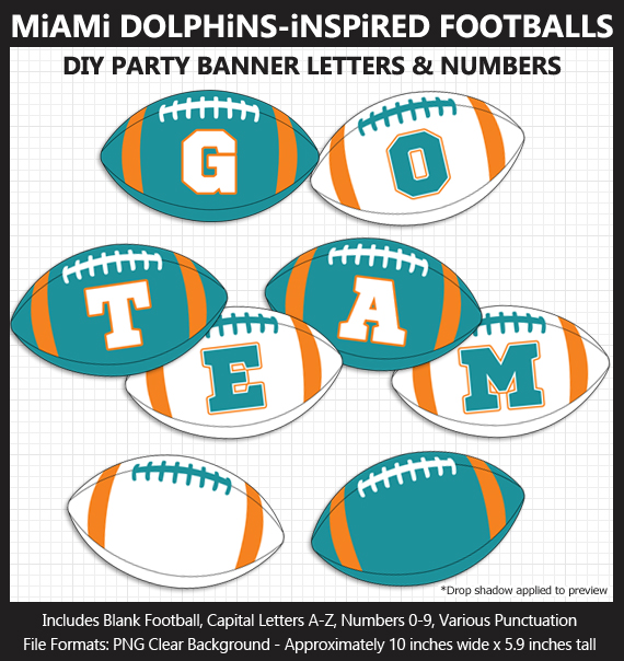Printable Miami Dolphins-Inspired Football Party Banner Letters - DIY Dolphins Party Banner
