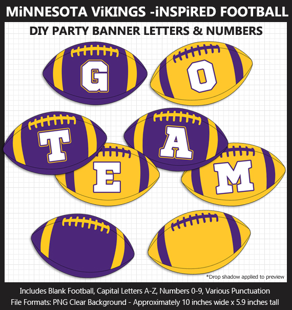Printable Minnesota Vikings-Inspired Football Party Banner Letters - DIY Vikings Party Banner