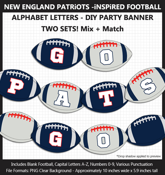 Printable New England Patriots-Inspired Football Party Banner Letters - DIY Patriots Party Banner