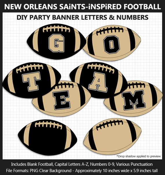 Printable New Orleans Saints-Inspired Football Party Banner Letters - DIY Saints Party Banner