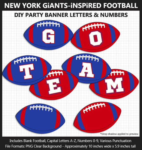 Printable New York Giants-Inspired Football Party Banner Letters - DIY Giants Party Banner