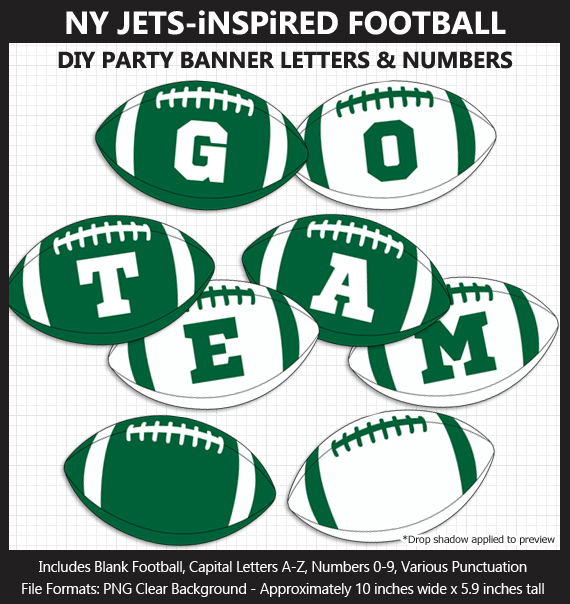 Printable New York Jets-Inspired Football Party Banner Letters - DIY Jets Party Banner