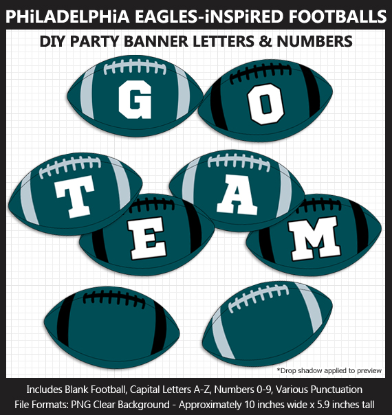 Printable Philadelphia Eagles-Inspired Football Party Banner Letters - DIY Eagles Party Banner