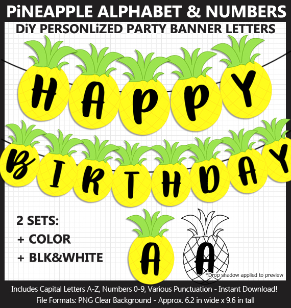 Printable Pineapple Party Banner Letters - DIY Luau Pineapple Party Banner
