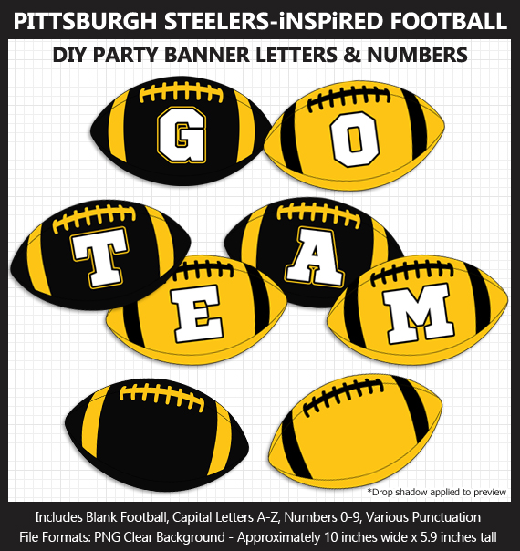 Printable Pittsburgh Steelers-Inspired Football Party Banner Letters - DIY Steelers Party Banner