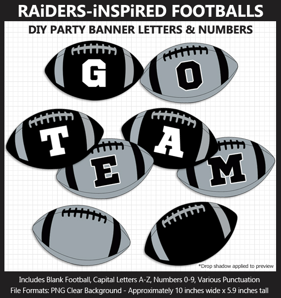 Printable Raiders-Inspired Football Party Banner Letters - DIY Raiders Party Banner