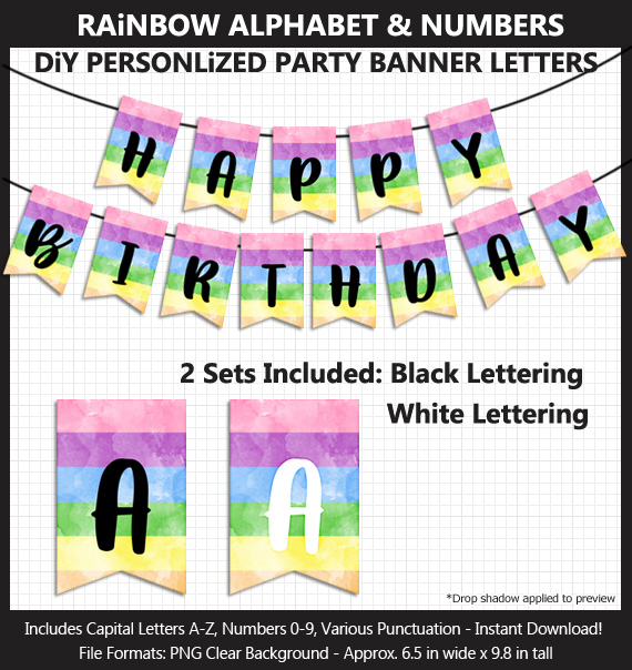 Printable Rainbow Party Banner Letters - DIY Rainbow Bunting Banner