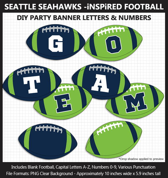 Printable Seattle Seahawks-Inspired Football Party Banner Letters - DIY Seahawks Party Banner